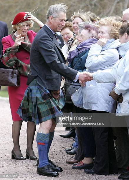 The Prince of Wales and the Duchess of Cornwall meet wellwishers at Crathie Parish Church in Aberdeenshire in blustery weathery Sunday April 10 2005...