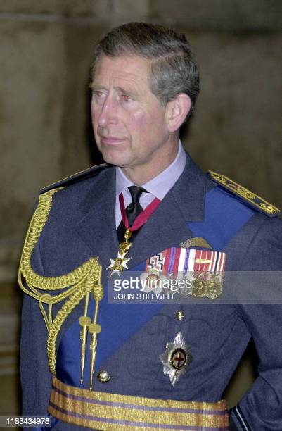 The Prince of Wales arrives at St Paul's cathedral in London 24 April 2002 to attend a service to commemorate the 55000 personnel of Bomber Command...