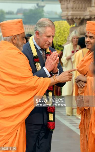 The Prince of Wales arrives at the Akshardham Temple in Delhi the capital of India on the third day of their eleven day tour of India and Sri Lanka