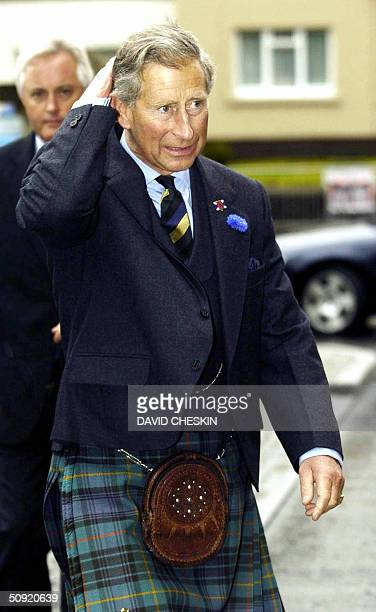 The Prince of Wales arrives at the Albert Halls in Sterling 03 June 2004 The Prince talked to three WWII veterans from Glasgow who recounted their...