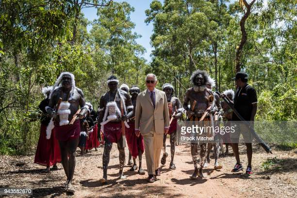 The Prince of Wales arrives for a Welcome to Country Ceremony on April 9 2018 in Gove Northern Territory Australia The Prince of Wales and Duchess of...