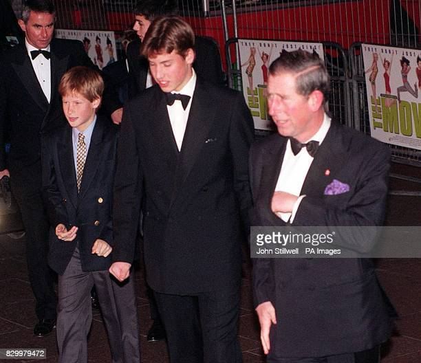The Prince of Wales arrives with the young princes Harry and William arrive for tonight's gala premiere of the film Spice - The Movie, starring the...
