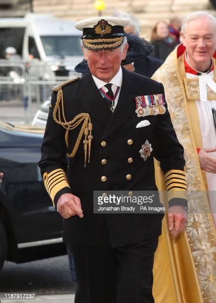 The Prince of Wales arriving for a service of thanksgiving for the life and work of Sir Donald Gosling at Westminster Abbey in London