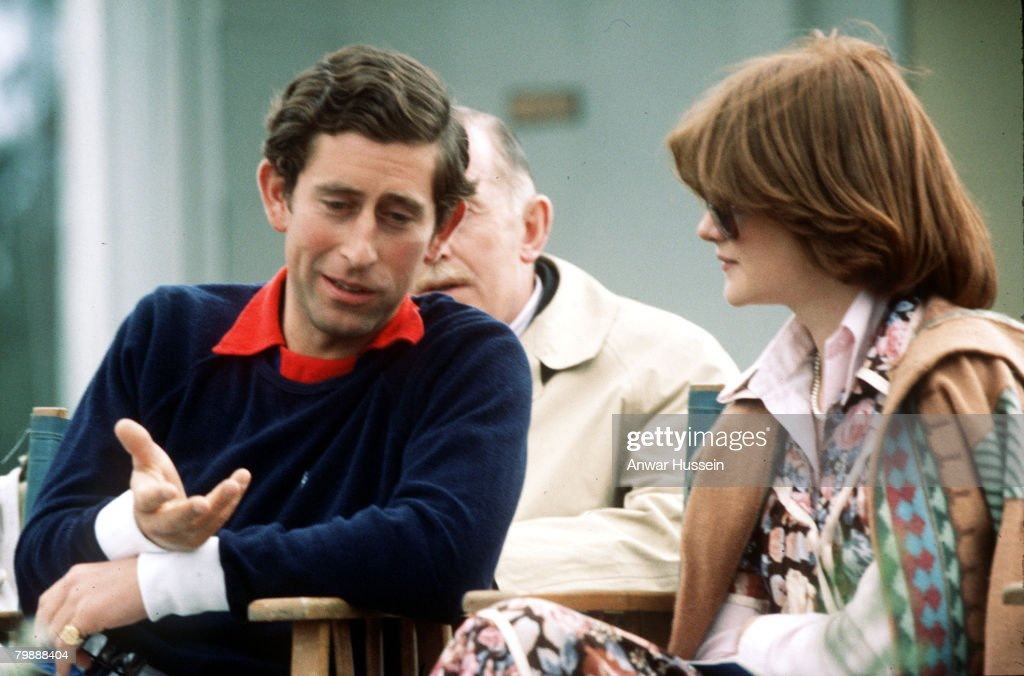 The Prince of Wales at polo with Lady Sarah McCorquodale in July 1977