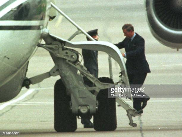 The Prince of Wales boards a plane from Aberdeen to Paris to collect the body of Diana Princess of Wales who tragically died in a car crash in the...