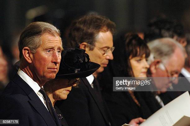 The Prince of Wales, Camilla Parker-Bowles, British Prime Minister Tony Blair and his wife Cherie attend a service in memory of Pope John Paul II at...