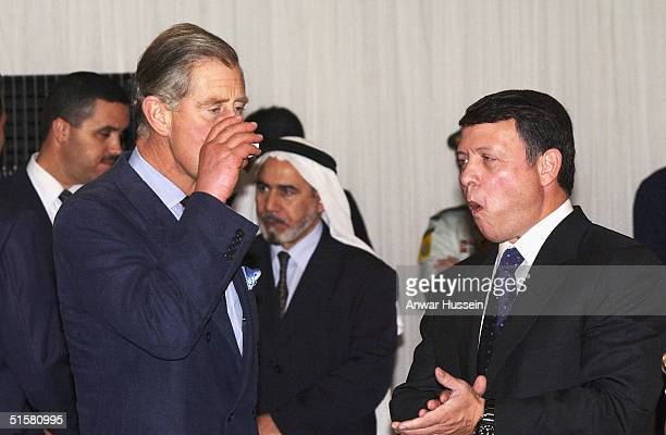 The Prince of Wales chats with King Abdullah II who hosts the Iftar Banquet held to honour the breaking of the Ramadan fast on October 27 2004 at the...