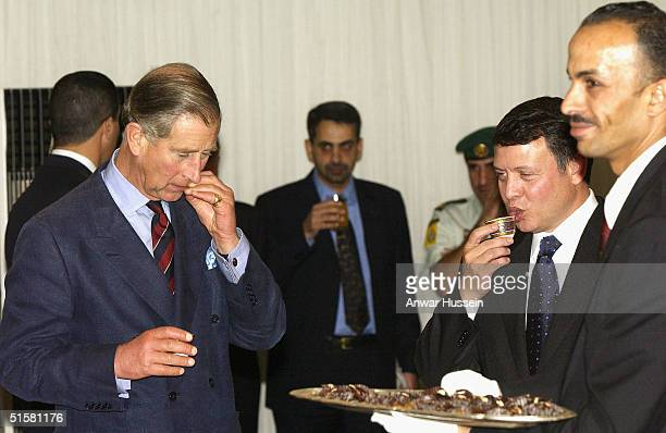 The Prince of Wales chats with King Abdullah II who is hosting the Iftar Banquet held to honour the breaking of the Ramadan fast on October 27 2004...