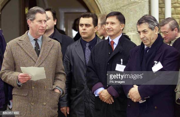 The Prince of Wales delivers a speech beside European chefs Christos Tzieras of Greece Nikolas Sarantos of Greece and Jacques Cagna of France at...