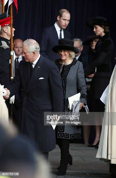 The Prince of Wales Duchess of Cornwall and the Duke and Duchess of Cambridge leave after a memorial service to celebrate the life of the sixth Duke...