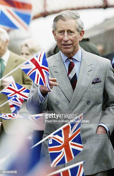 The Prince of Wales greeted by well wishers during a visit to Appleby Station on March 22 2005 in Appleby England