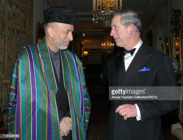 The Prince of Wales greets the Afghan President Hamid Karzai as he arrives for dinner at Clarence House 31 January, 2006