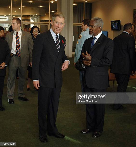 """The Prince of Wales greets the Secretary General of the United nations Kofi Annan during """"The Challenge of Youth: Working Together to Promote Youth..."""