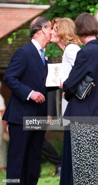 The Prince of Wales is greeted by his former sisterinlaw Lady Jane Fellowes when he arrived for a concert by Maria Joao Pires at the Church of Holy...