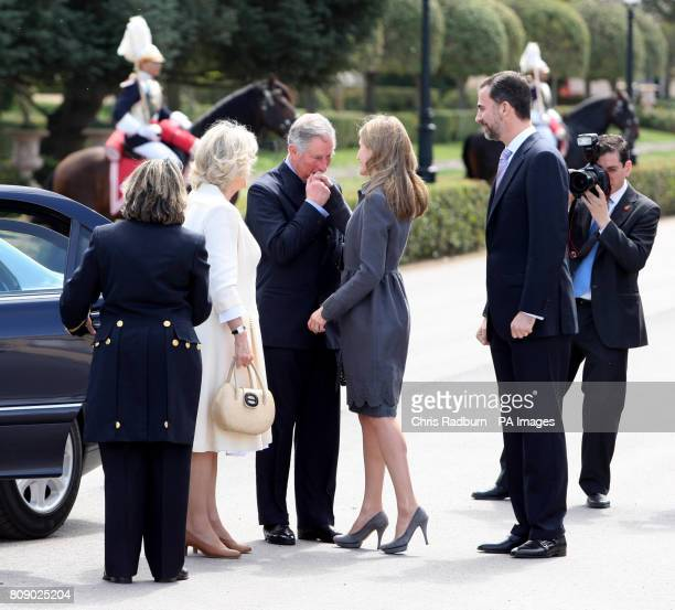The Prince of Wales is greeted by Princess Asturias Letizia of Spain alongside The Duchess of Cornwall and Prince Felipi of Spain as they arrive at...