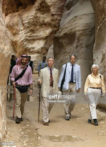 The Prince of Wales is shown round the ancient city of Petra by Prince Ghazi Bin Mohammed , cousin of Jordan's King Abdullah II, on October 29, 2004...