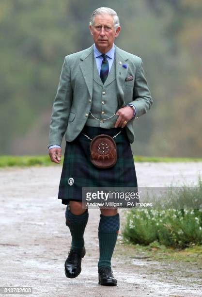 The Prince of Wales known as the Duke of Rothesay when in Scotland after a ceremony to present service medals to soldiers from the 51st Highland 7th...