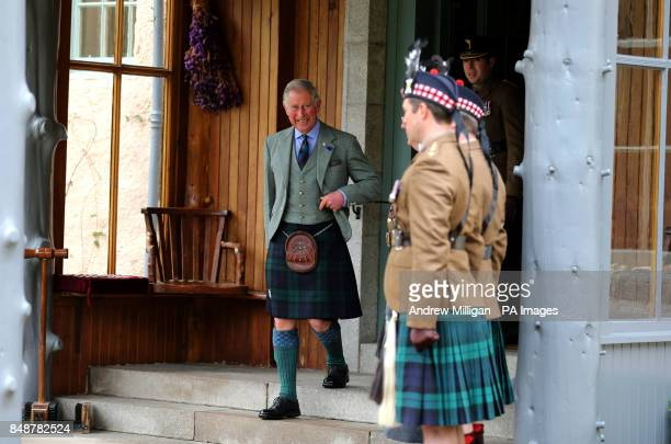 The Prince of Wales known as the Duke of Rothesay when in Scotland at a ceremony to present service medals to soldiers from the 51st Highland 7th...