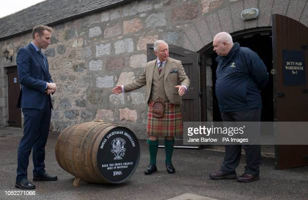 The Prince of Wales known as the Duke of Rothesay while in Scotland alongside ISC director Ewan Andrew and distillery manager Sean Phillips is...