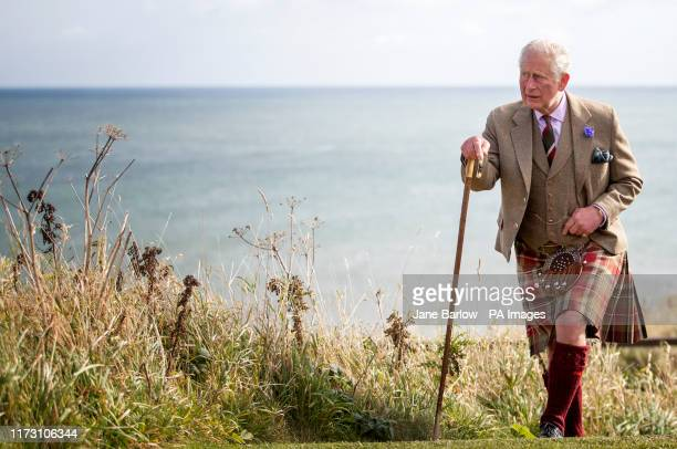 The Prince of Wales, known as the Duke of Rothesay while in Scotland, during a visit to Dunnottar Castle during a visit to Dunnottar Castle, the...