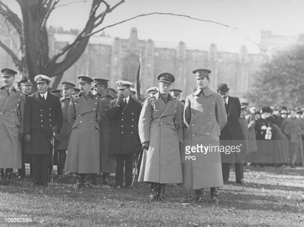 The Prince of Wales later King Edward VIII and Duke of Windsor visits the West Point Military Academy New York State accompanied by Brigadier General...