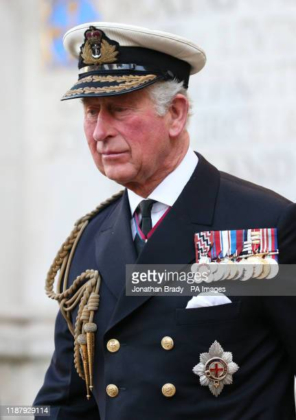 The Prince of Wales leaving Westminster Abbey in London following a service of thanksgiving for the life and work of Sir Donald Gosling