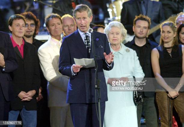 The Prince of Wales makes a speech in praise of his mother, Britain's Queen ELizabeth II on stage in the gardens of Buckingham Palace Monday 03 June...