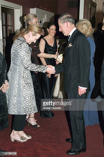 HRH The Prince of Wales meets actress Meryl Streep at the Harvard Club where the Prince will receive the Global Environmental Citizen Award from...
