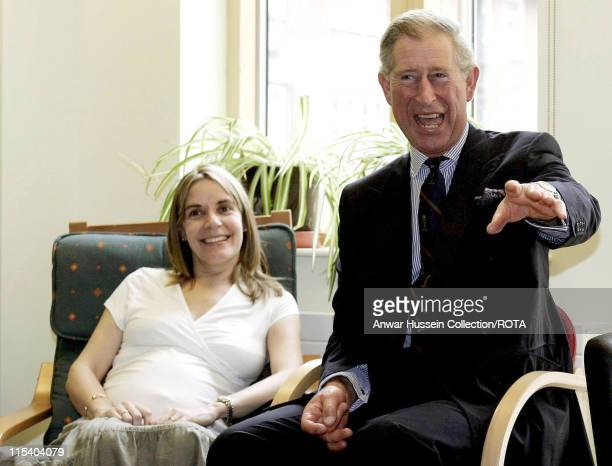 HRH The Prince of Wales meets Amanda Fraher in the antinatal clinic during his visit to the Royal London Homoeopathic Hospital October 12 before he...