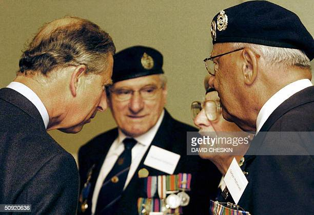The Prince of Wales meets DDay veterans at the Albert Halls in Sterling 03 June 2004 The Prince talked to three WWII veterans from Glasgow who...