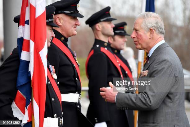 The Prince of Wales meets fire officers as he arrives at Dearne Community Fire Station on February 16 2018 in Rotherham United Kingdom The Fire...