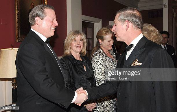 HRH The Prince of Wales meets former US Vice President Al Gore his wife Tipper and actress Meryl Streep at the Harvard Club where the Prince will...