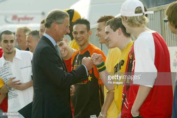 The Prince of Wales meets members of the group Blazin Squad at the Capital Radio Party in the Park in Hyde Park London The concert is being held in...