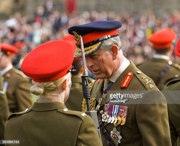 The Prince of Wales meets members of the Queens Own Yeomanry as it was today presented with its first Guidon at Alnwick Castle today in Northumberland