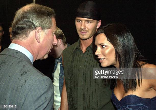 The Prince of Wales meets pop star Victoria Beckham and her husband David at the Princes Trust Capital FM Party in the Park 2000 London late 09 July...