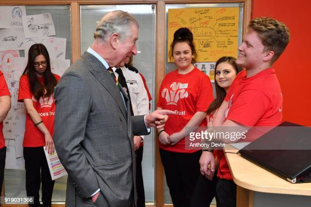 The Prince of Wales meets students at Dearne Community Fire Station on February 16 2018 in Rotherham United Kingdom The Fire Station runs the Fire...