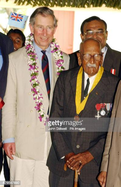 The Prince of Wales meets the oldest living Fijian man Bechu Prasad 104