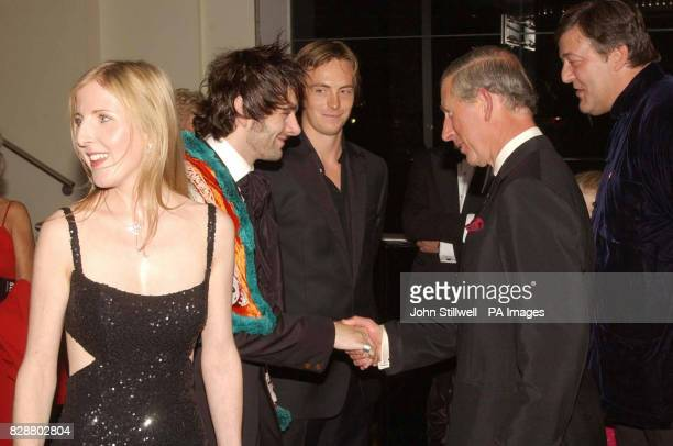 The Prince of Wales meets with actor's Michael Sheen Stephen Campbell Moore actress Fanella Woolgar and director/actor Stephen Fry at the Odeon...
