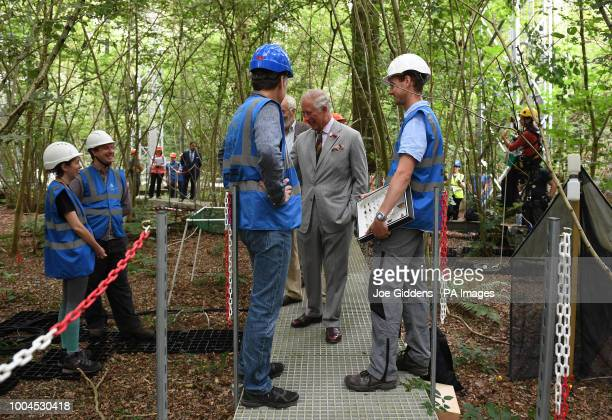 The Prince of Wales Patron of Woodland Heritage during a visit to the University of Birmingham's Institute of Forest Research FreeAir Carbon Dioxide...
