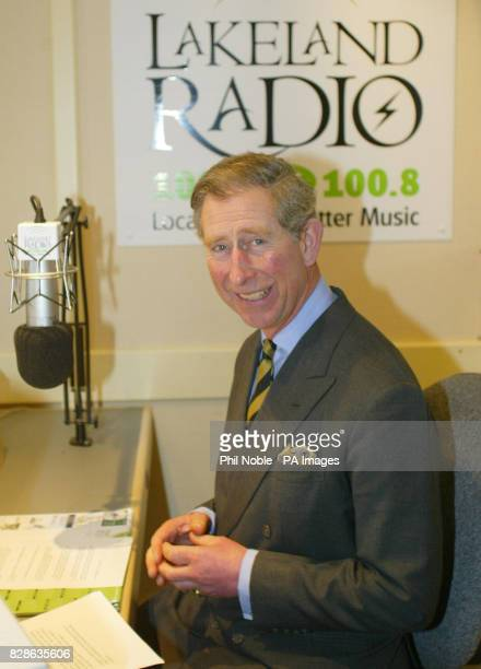 The Prince of Wales prepares for an interview with Lakeland Radio, during a day long visit to Cumbria. Asked to request a record, he chose You're A...