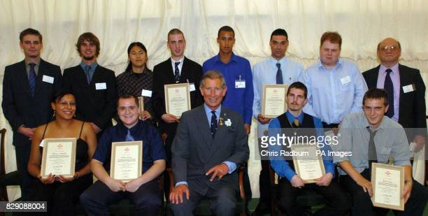 HRH The Prince Of Wales presented certificates to the Prince's Trust Construction Team at R G Carter at The Lowlands Drayton Norfolk The Prince's...