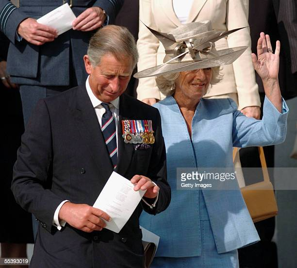The Prince of Wales President of The Victoria Cross and George Cross Association waves to the public after he and The Duchess attended a service of...