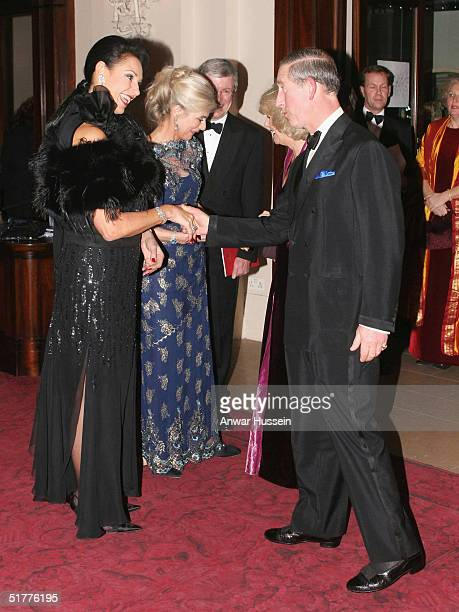 The Prince of Wales Prince Charles and Camilla ParkerBowles meet Dame Gail Ronson and The Countess Of Chichester at the Royal Opera House for a...
