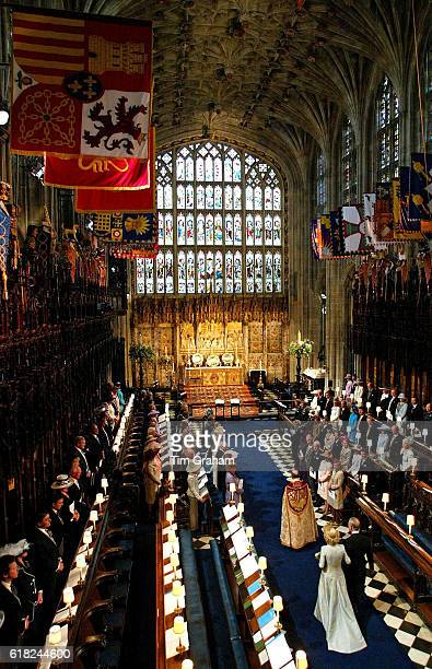 The Prince of Wales Prince Charles and his new bride the Duchess of Cornwall Camilla ParkerBowles inside St George's Chapel in Windsor Castle for the...