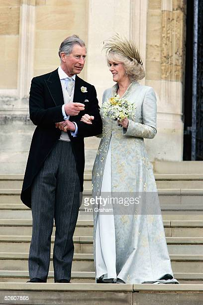 TRH the Prince of Wales Prince Charles and The Duchess Of Cornwall Camilla ParkerBowles in silk dress by Robinson Valentine and headdress by Philip...