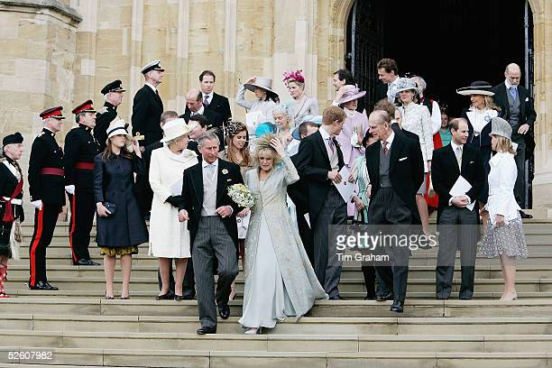 HRH the Prince of Wales Prince Charles and The Duchess Of Cornwall Camilla Parker Bowles in silk dress by Robinson Valentine and headdress by Philip...