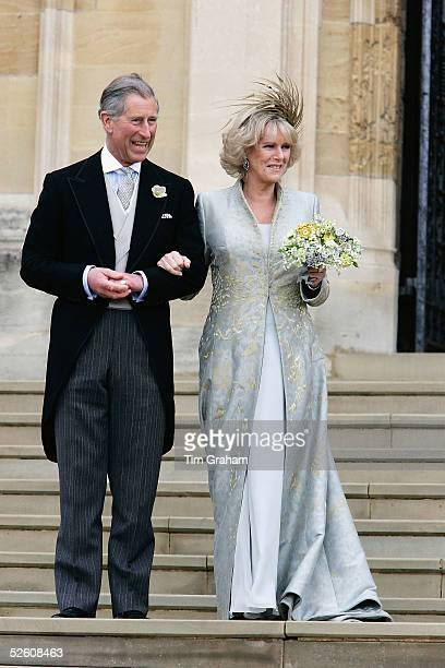 The Prince of Wales Prince Charles and The Duchess Of Cornwall Camilla Parker Bowles in silk dress by Robinson Valentine and headdress by Philip...