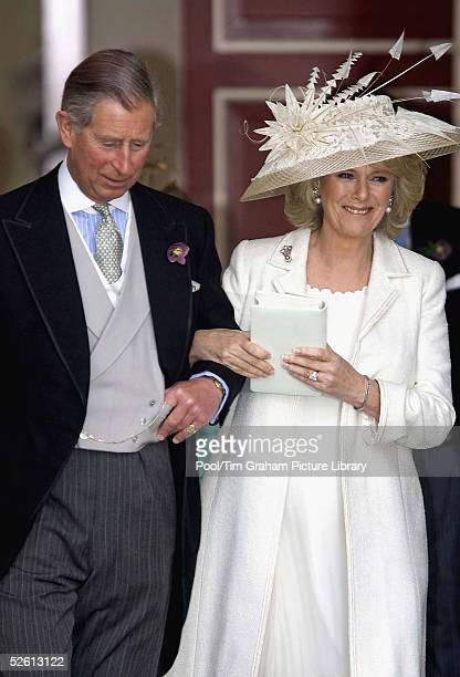 The Prince of Wales, Prince Charles, and the Duchess of Cornwall, Camilla Parker-Bowles in outfit by Robinson Valentine and hat by Philip Treacy, on...