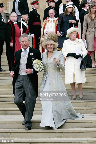 TRH the Prince of Wales Prince Charles and The Duchess Of Cornwall Camilla Parker Bowles in silk dress by Robinson Valentine and headdress by Philip...