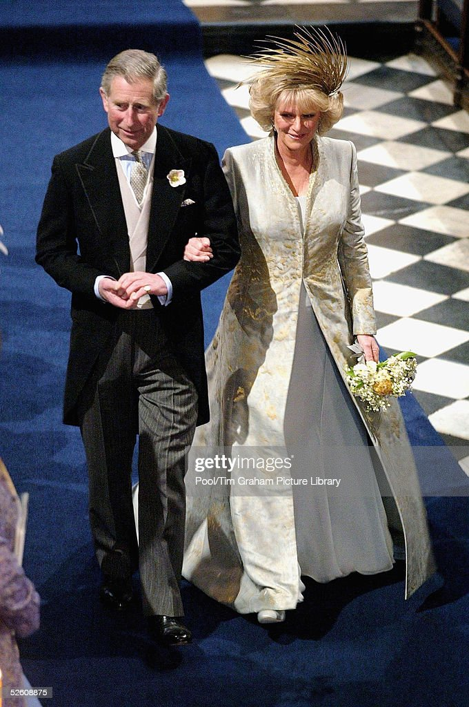 TRH the Prince of Wales, Prince Charles, and The Duchess Of Cornwall, Camilla Parker Bowles, attend the Service of Prayer and Dedication blessing their marriage at Windsor Castle on April 9, 2005 in Berkshire, England.
